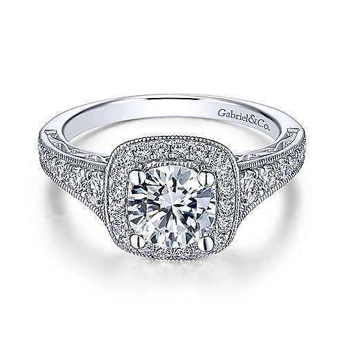 Gabriel - Florence 18k White Gold Round Halo Engagement Ring