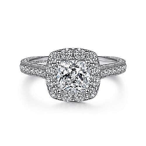 Gabriel - Florence Platinum Cushion Cut Halo Engagement Ring