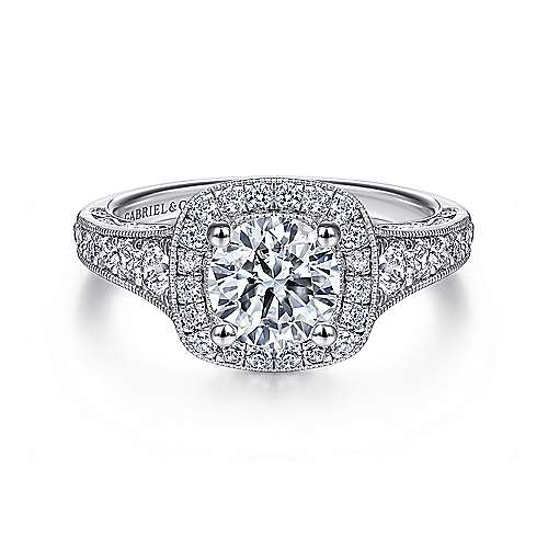 Gabriel - Florence Platinum Round Halo Engagement Ring