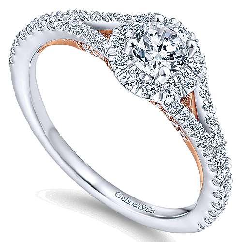 Flow 14k White And Rose Gold Round Halo Engagement Ring angle 3