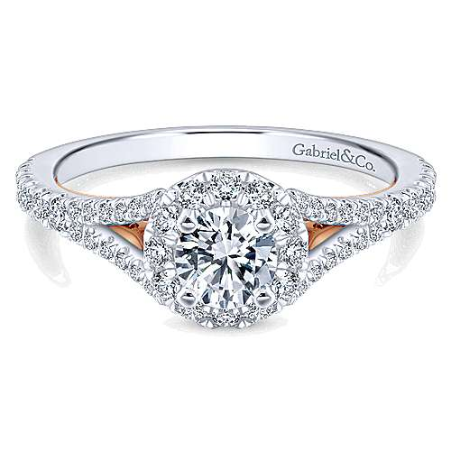 Flow 14k White And Rose Gold Round Halo Engagement Ring angle 1