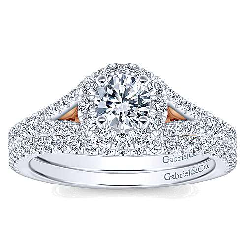 Flow 14k White And Rose Gold Round Halo Engagement Ring angle 4