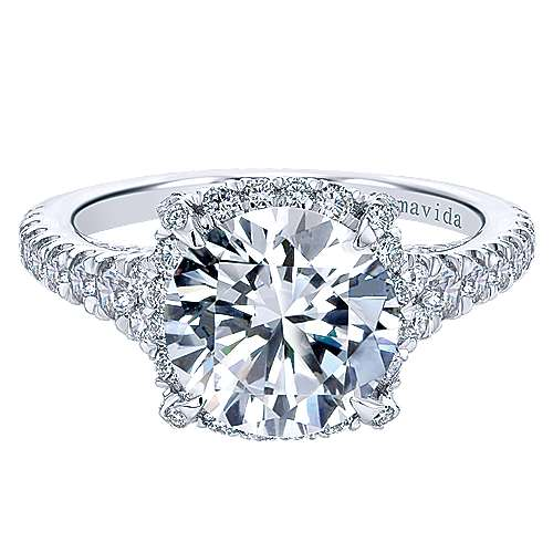 Forever 18k White Gold Round Halo Engagement Ring angle 1