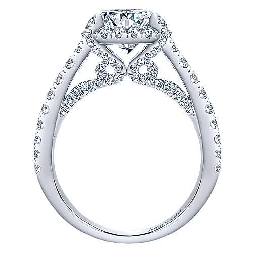 Forever 18k White Gold Round Halo Engagement Ring angle 2