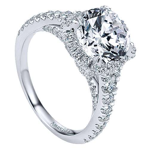 Forever 18k White Gold Round Halo Engagement Ring angle 3