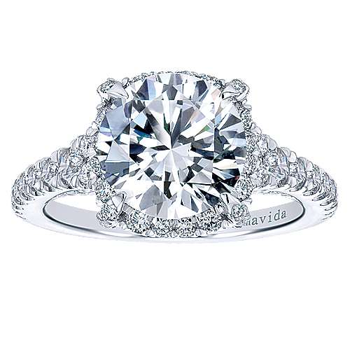 Forever 18k White Gold Round Halo Engagement Ring angle 5