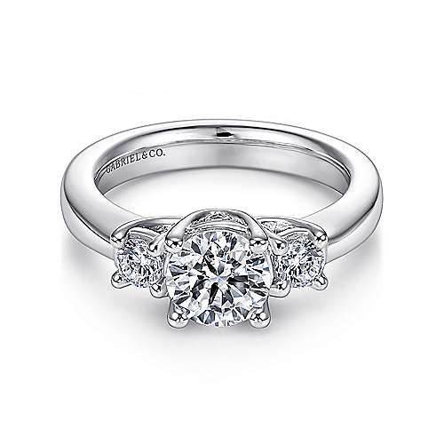 Gabriel - Fortuna 14k White Gold Round 3 Stones Engagement Ring