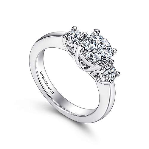 Fortuna 14k White Gold Round 3 Stones Engagement Ring angle 3