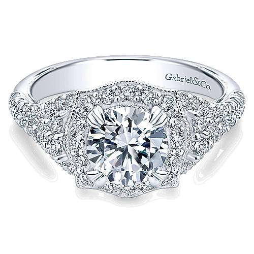 Francine 14k White Gold Round Halo Engagement Ring angle 1