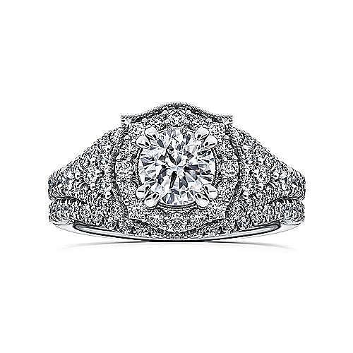 Francine 14k White Gold Round Halo Engagement Ring angle 4