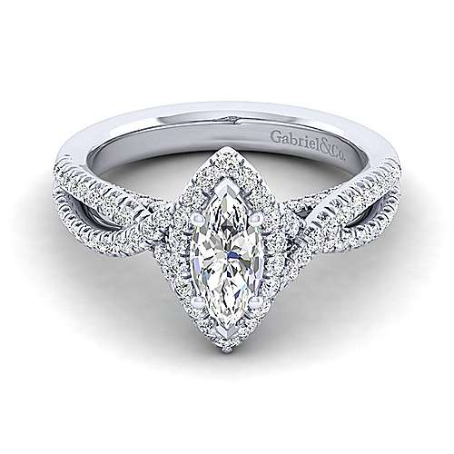 Gabriel - Freesia 14k White Gold Marquise  Halo Engagement Ring