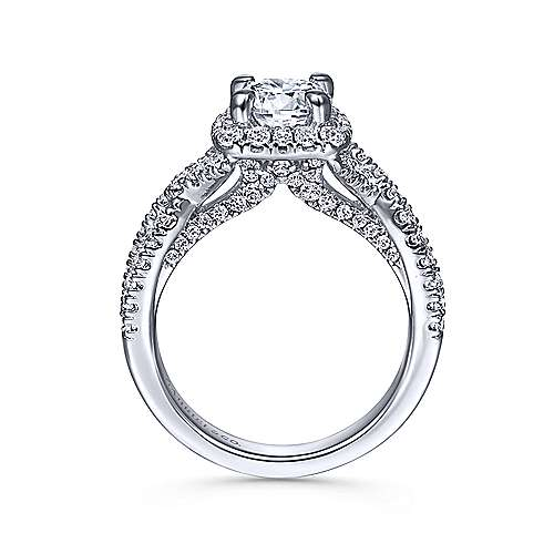 Freesia 14k White Gold Round Halo Engagement Ring angle 2