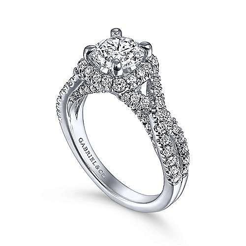 Freesia 14k White Gold Round Halo Engagement Ring angle 3
