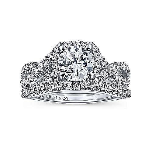 Freesia 14k White Gold Round Halo Engagement Ring angle 4