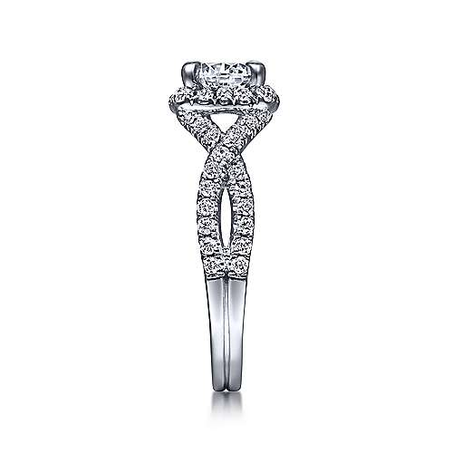 Freesia 14k White Gold Round Halo Engagement Ring angle 5