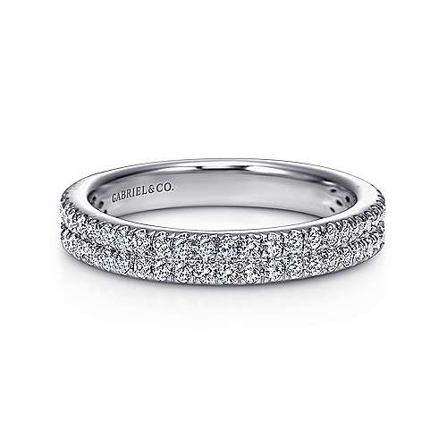 French Pave  Classic Diamond Ring in 14K White Gold