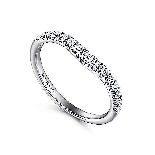 French Pave  Curved Diamond Ring in 14K White Gold