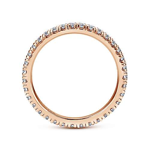 French Pave  Eternity Diamond Ring in 14K Rose Gold