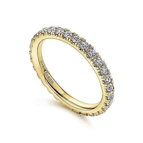French Pave  Eternity Diamond Ring in 14K Yellow Gold