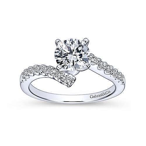 Freya 14k White Gold Round Bypass Engagement Ring angle 5
