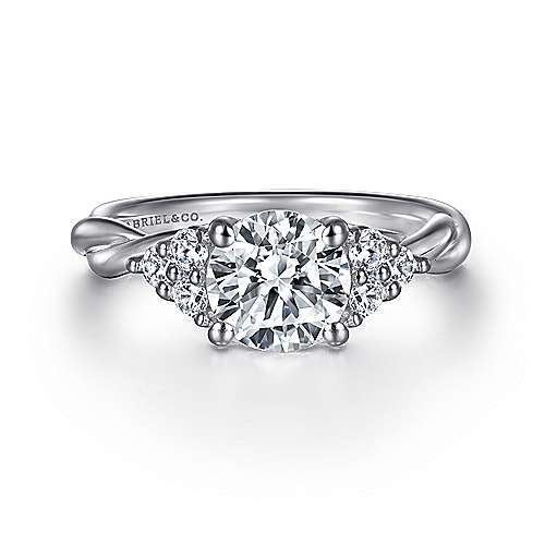 Gabriel - Frida 14k White Gold Round Twisted Engagement Ring