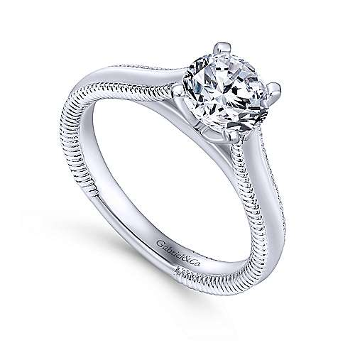 Gale 14k White Gold Round Solitaire Engagement Ring angle 3