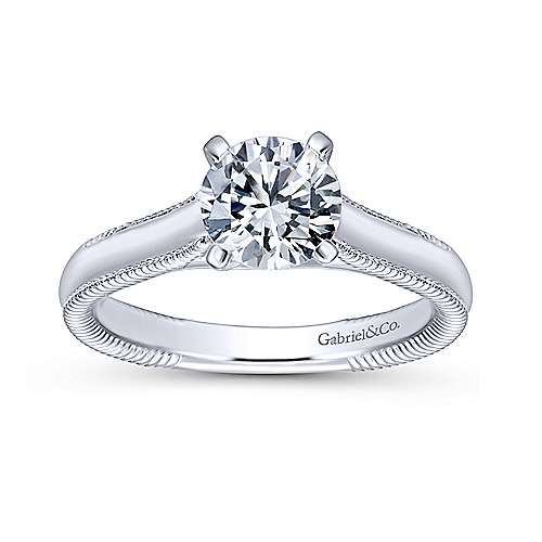 Gale 14k White Gold Round Solitaire Engagement Ring angle 5