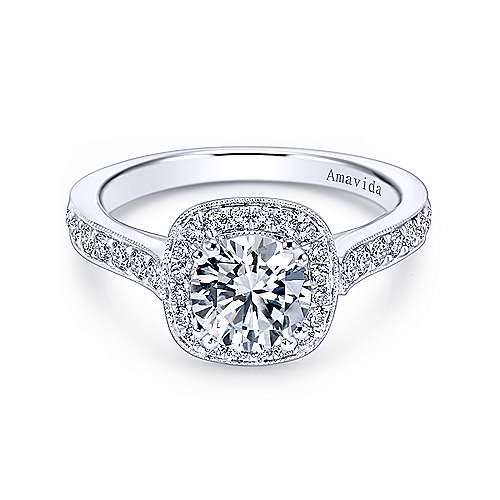 Gabriel - Galore 18k White Gold Round Halo Engagement Ring