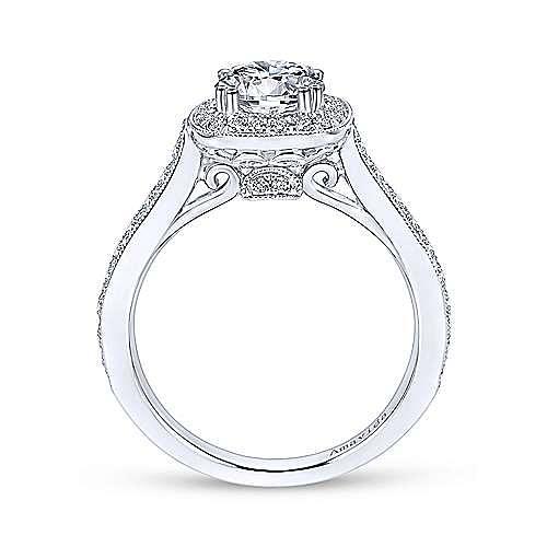 Galore 18k White Gold Round Halo Engagement Ring angle 2