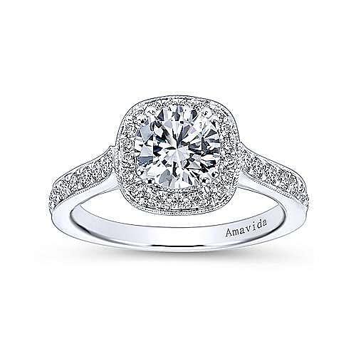 Galore 18k White Gold Round Halo Engagement Ring angle 5