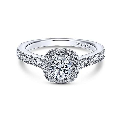Gabriel - Galore 18k White Gold Round Halo Engagement Ring