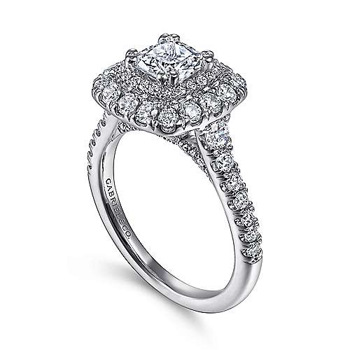 Gardenia 14k White Gold Cushion Cut Halo Engagement Ring angle 3