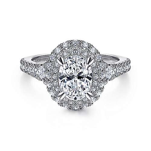 Gardenia 14k White Gold Oval Double Halo Engagement Ring