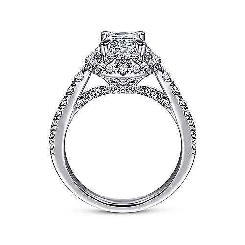 Gardenia 14k White Gold Oval Double Halo Engagement Ring angle 2