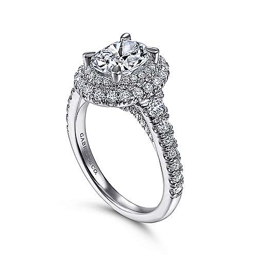 Gardenia 14k White Gold Oval Double Halo Engagement Ring angle 3