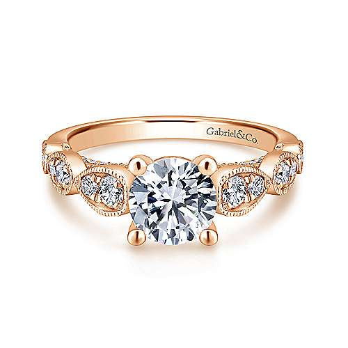 Gabriel - Garland 14k Rose Gold Round Straight Engagement Ring