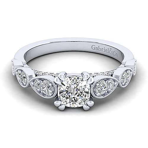 Gabriel - Garland 14k White Gold Cushion Cut Straight Engagement Ring