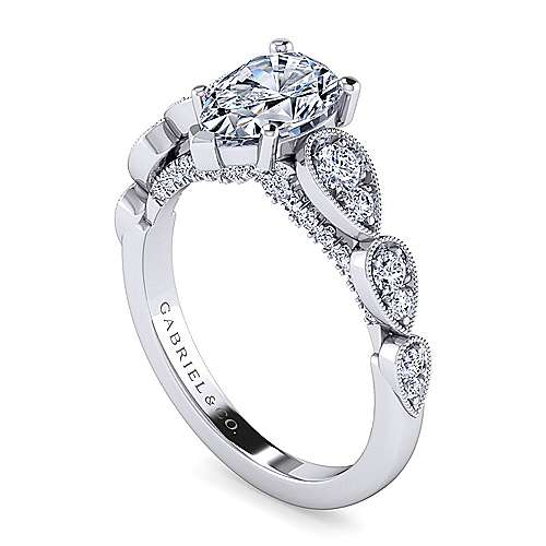 Garland 14k White Gold Pear Shape Straight Engagement Ring angle 3