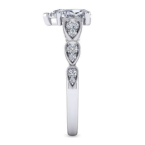 Garland 14k White Gold Pear Shape Straight Engagement Ring angle 5