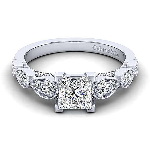 Gabriel - Garland 14k White Gold Princess Cut Straight Engagement Ring