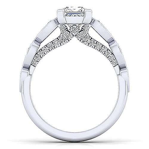 Garland 14k White Gold Princess Cut Straight Engagement Ring angle 2