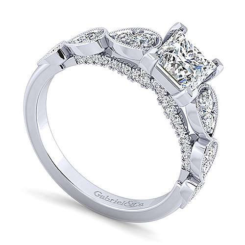 Garland 14k White Gold Princess Cut Straight Engagement Ring angle 3