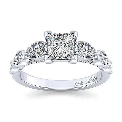 Garland 14k White Gold Princess Cut Straight Engagement Ring angle 5