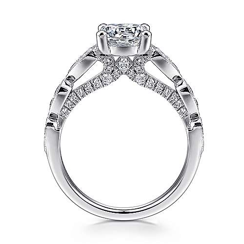Garland 14k White Gold Round Straight Engagement Ring angle 2