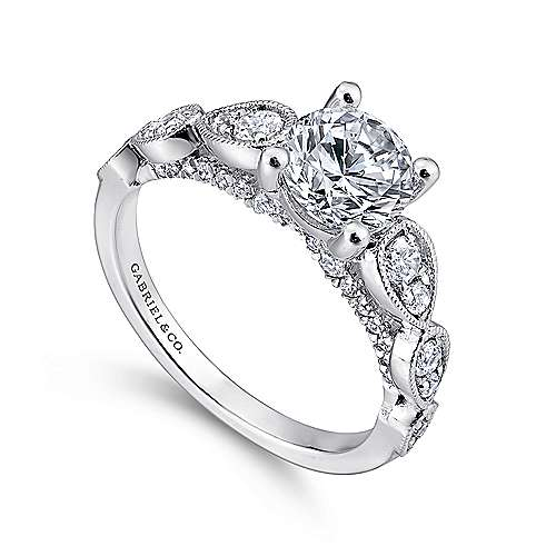 Garland 14k White Gold Round Straight Engagement Ring angle 3