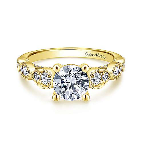 Gabriel - Garland 14k Yellow Gold Round Straight Engagement Ring