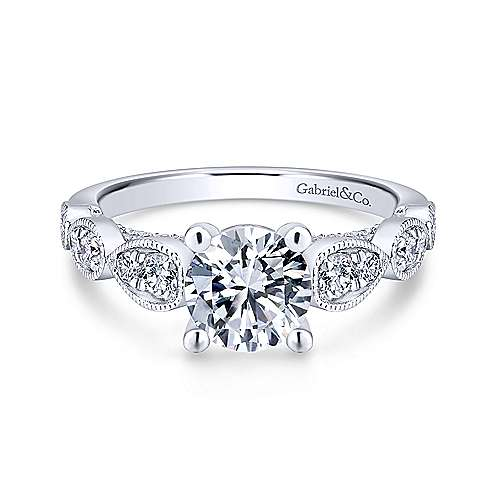 Gabriel - Garland 18k White Gold Round Straight Engagement Ring