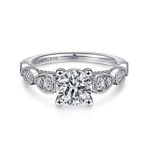 Gabriel - Garland Platinum Round Straight Engagement Ring