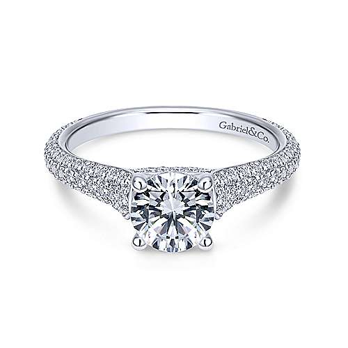 Gavin 18k White Gold Round Straight Engagement Ring angle 1