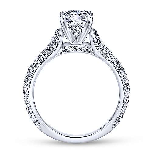Gavin 18k White Gold Round Straight Engagement Ring angle 2